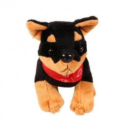 Plüsch Hund Rottweiler mit Tuch