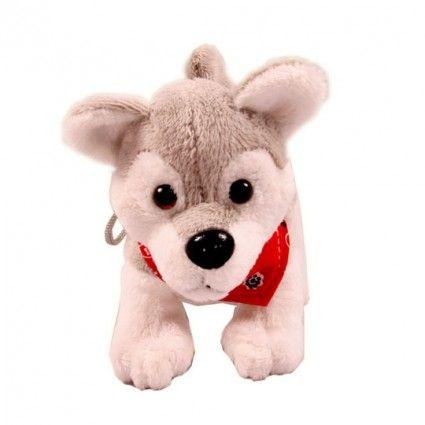 Plüsch Hund Husky mit Tuch