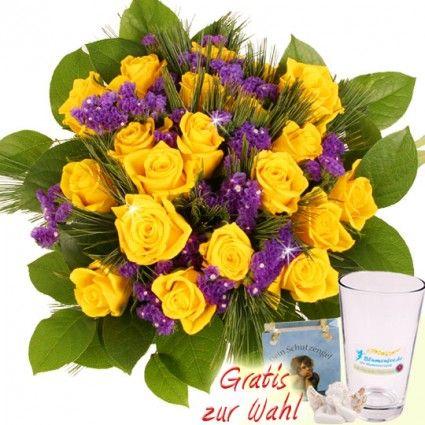 Rosenstrauß 20 Gelbe Rosen mit Kiefernzweigen und Gratis-Glasvase online versenden mit Blumenfee.