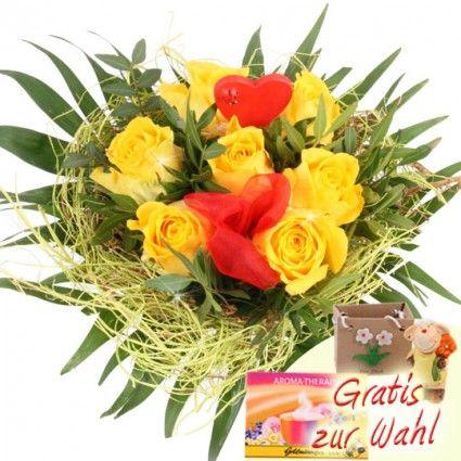 Gelber Rosenstrauss mit rotem Herz und roter Schleife online verschicken mit Blumenfee - dem schnellen und günstigen Blumenversand