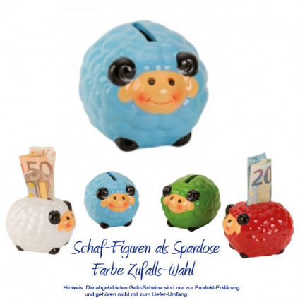 Süße Schaf Figur als Spardose in 4 Farben - Farbe Zufalls-Wahl - online verschicken - Blumenfee - Der Blumenversand