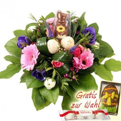 Oster-Blumenstrauß mit Schokoladen-Hasen online bestellen und verschicken mit Blumenfee