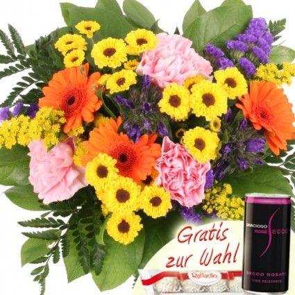 Blumenstrauss Sommertraum zum Geburtstag mit Schokolade oder Secco online versenden