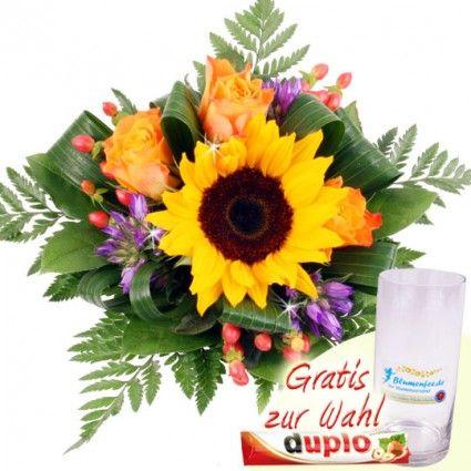 Sommer Blumenstrauß Lachende Sonne mit einer Sonnenblume online verschicken mit Blumenfee