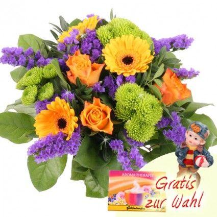 Sommerstrauß mit Deko-Figur online verschicken - schnell und günstig bestellen und mit der Blumenfee Frische-Verpackung versenden