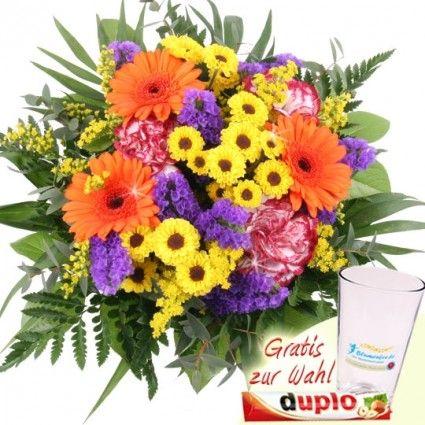 Sommerstrauss Sommerwiese zum Muttertag / Valentinstag mit Schokolade oder Vase online verschicken schnell und günstig mit Blumenfee - dem Blumenversand
