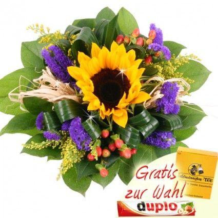 Sonnenblume dekorativ aufgebunden mit Statice und Hypericum - mit Goldmännchen Verwöhnpaket oder Duplo - online verschicken