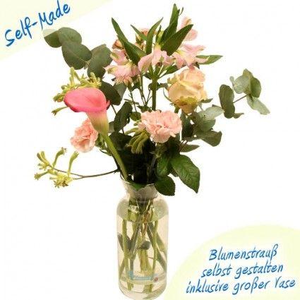 Self Made Blumenstrauß - Bundware zu Hause selber zusammenstellen inklusive großer Vase  - online bei Blumenfee
