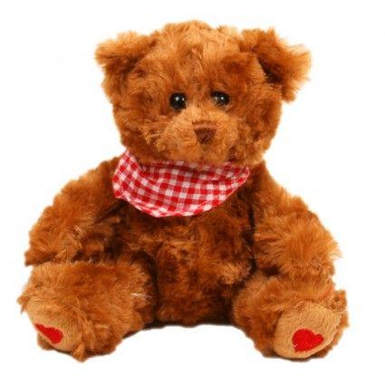 Teddybär Browny mit rotem Halstuch zusammen mit Ihrem Blumenstrauß online bestellen