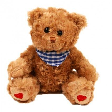 Teddybär Browny mit blauem Halstuch zusammen mit Ihrem Blumenstrauß online bestellen