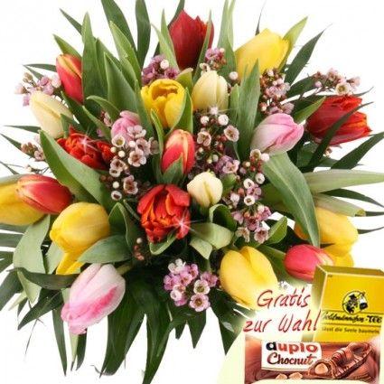 20 Bunte Tulpen - Tulpenstrauss mit Zugabe Ihrer Wahl sicher und frisch online versenden mit Blumenfee - Der Blumenversand