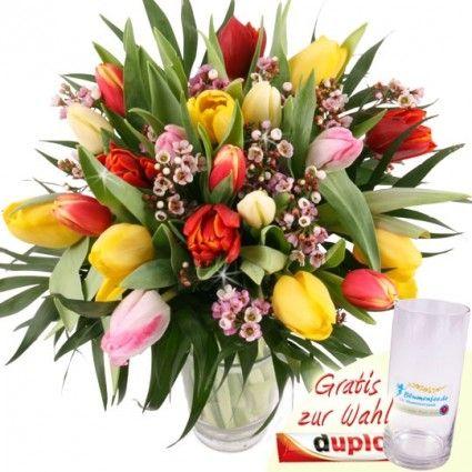 20 Tulpen Tulpenstrauss online - Tulpen bunt online verschicken mit dem Testsieger Blumenfee.de