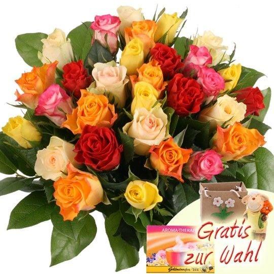 30 Bunte Rosen mit Zugabe Ihrer Wahl Blumen günstig