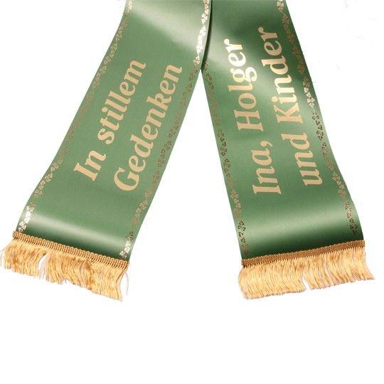 Schleife grün 12,5 cm breit goldene Schrift auf Rechnung bestellen