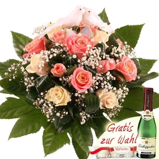 Hochzeits Träumerei Blumen zur Hochzeit Rosa Weiß mit Tauben Paar
