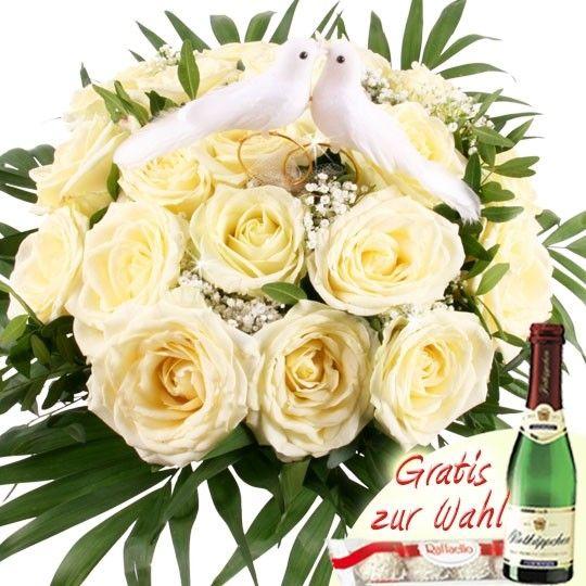 Hochzeits Träumerei Blumen zur Hochzeit Weiß Creme mit Tauben Paar