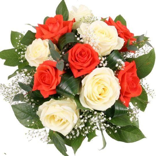 Nützlichblumen - Rosenstrauß Sunny Rosen Orange und Weiß - Onlineshop Blumenfee.de
