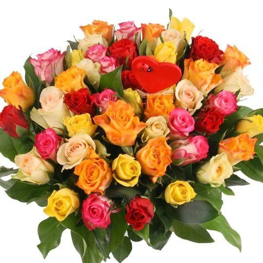 Rosen Rendezvous 50 Rosen im Farbmix mit Herz