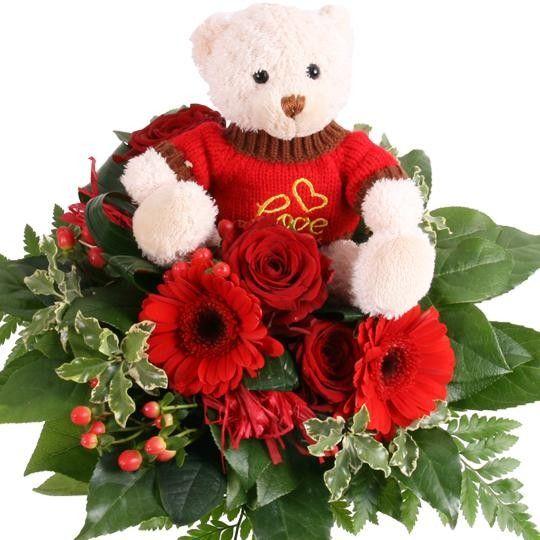 Alles Liebe Blumen mit Kuschel Teddy