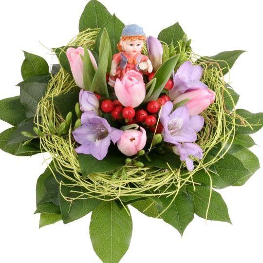 Little Girl Blumen zur Geburt