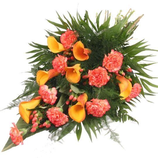 Premium Trauerstrauß Orange mit Calla und Nelken