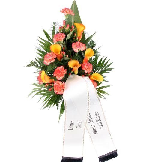 Premium Trauerstrauß Orange mit Calla und Nelken mit Tauerschleife Grabschleife
