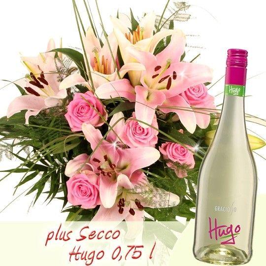 Lilien Strauß Premium Rosa Lilien Gedicht plus Frizzante Secco 0,75l