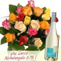 Angebot der Woche: 20 Bunte Rosen plus Secco Michelangelo 0,75l