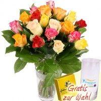 20 Rosen mit Vase / Rosenstrauß im Farb-Mix