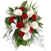 Brautstrauß My Melody - Calla und rote Rosen- online günstig
