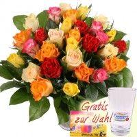 30 Bunte Rosen mit Vase