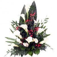 Grabstrauß Weiß-Rot mit Calla ohne Schleife