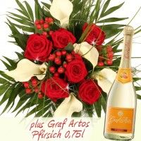 Blumenstrauß Antoniette Premium Calla und Rosen plus Graf Artos 0,75l