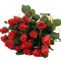 Rote Rosen im Bund mit Schleife- Anzahl wählbar