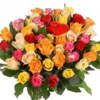 Rosen-Rendezvous - 50 Rosen im Farbmix mit Herz