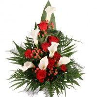 Premium-Grabstrauß Rot/Weiß mit Rosen und Calla