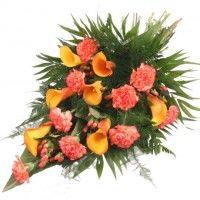 Premium-Trauerstrauß Orange mit Calla und Nelken