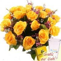 Rosenstrauß Sunday - 20 Rosen aufgebunden mit Waxflower