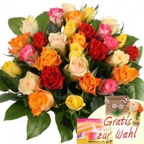 30 Bunte Rosen online bestellen und schnell und günstig versenden - Blumenfee Rosenversand.