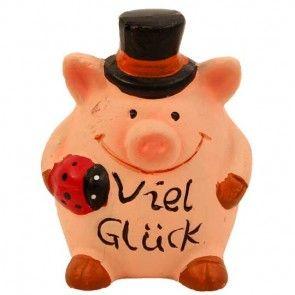 Glücksschwein mit Aufschrift Viel Glück 5,5 cm
