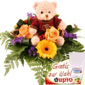 Teddybär und Blumen - Kuschel Blumengrüße mit Gratiszugabe Ihrer Wahl online verschicken mit Blumenfee.de