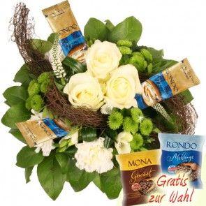 Blumen und Cappuccino online bestellen und verschicken mit Blumenfee
