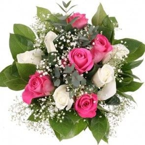 Rosen-Strauß Pink Lady mit 3 Gratiszugaben Ihrer Wahl – Blumen online verschicken auf www.blumenfee.de