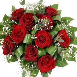 Rosen-Strauß Traum in Rot mit roten Premium-Rosen online verschicken mit Blumenfee.