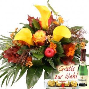 Herbstblumenstrauss mit Calla online verschicken