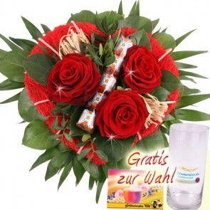 Muttertags Blumen zum Muttertag / Valentinsstag - Blumenstrauss In Liebe - Rote Rosen mit Herz - online verschicken mit Blumenfee